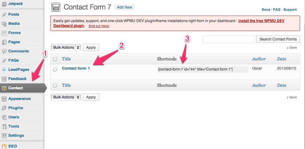 1. New Menu, 2. Existing form, 3.Shortcode