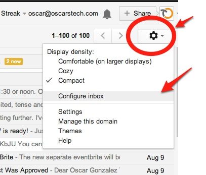 How to configure the new tabs in Gmail