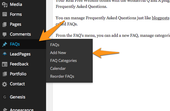 Dashboard menu for FAQ plugin