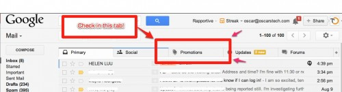 promotions tab on gmail service