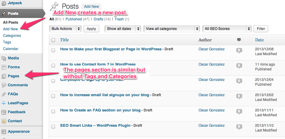 Dashboard posts and pages in WordPress